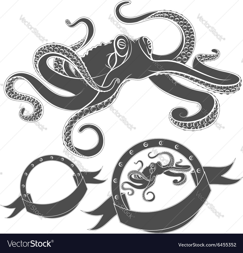Set of images with octopus isolated object vector