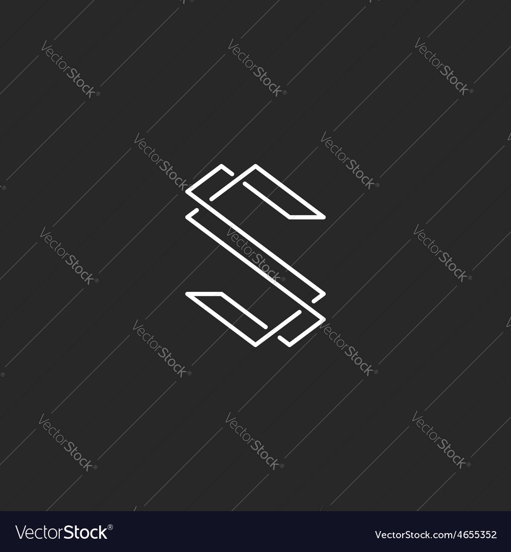 Thin line s letter logo elegant monogram for vector