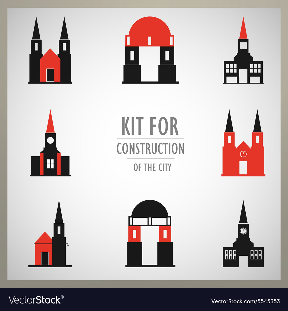 Set of architectural monuments old europe vector