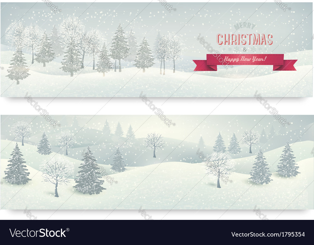 Christmas winter landscape banners vector