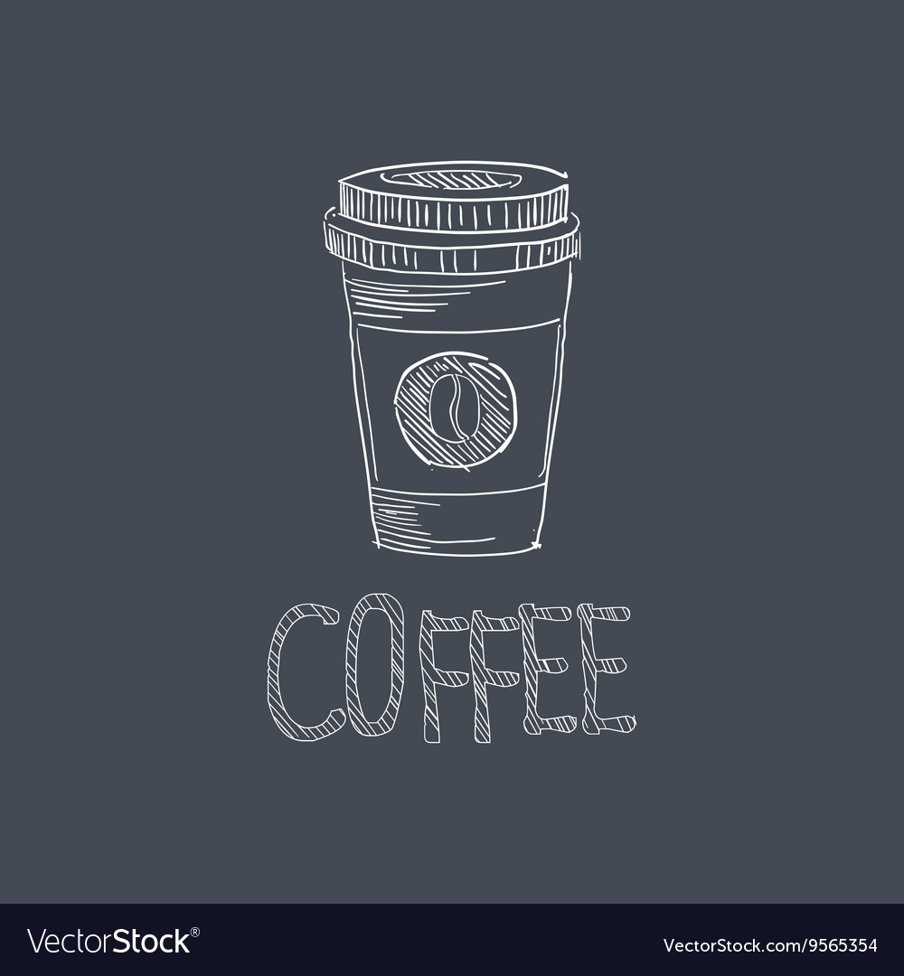 Coffee sketch style chalk on blackboard menu item vector