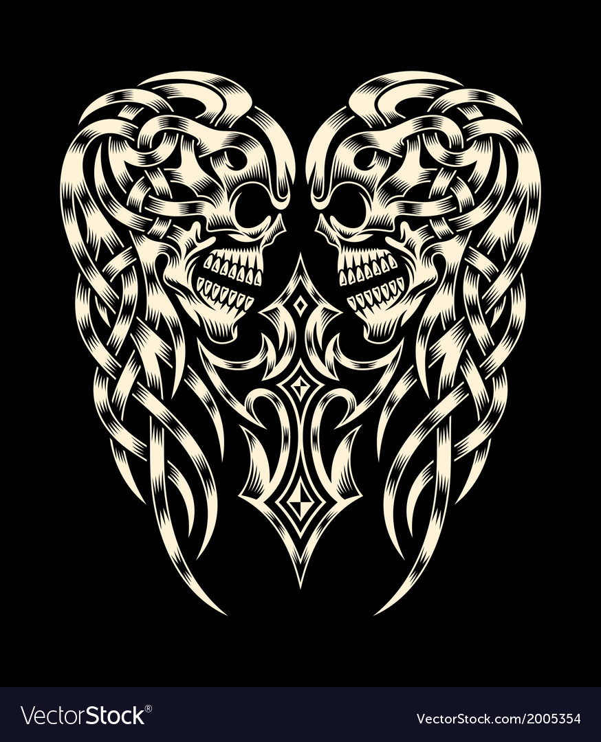 Ornate skull with cross vector