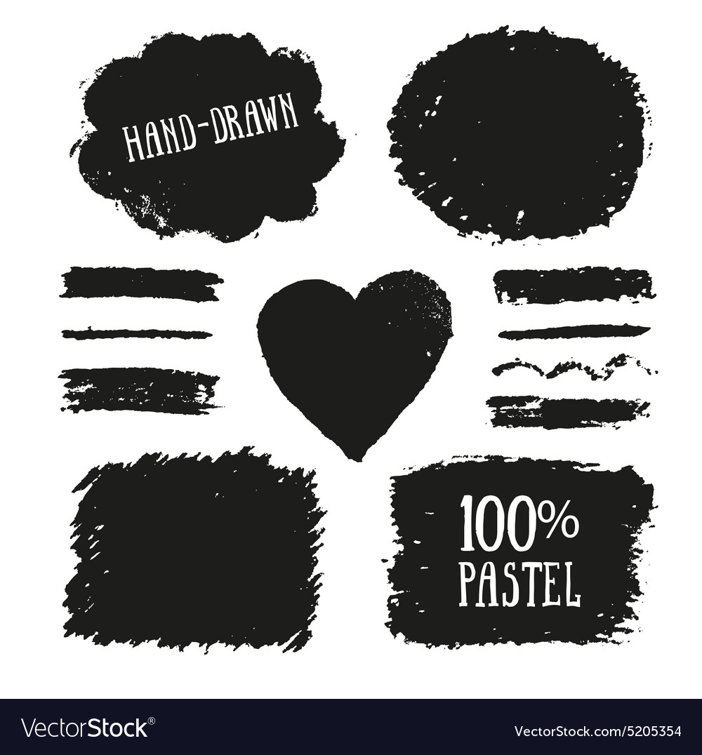 Set of oil pastel brush strokes and design vector