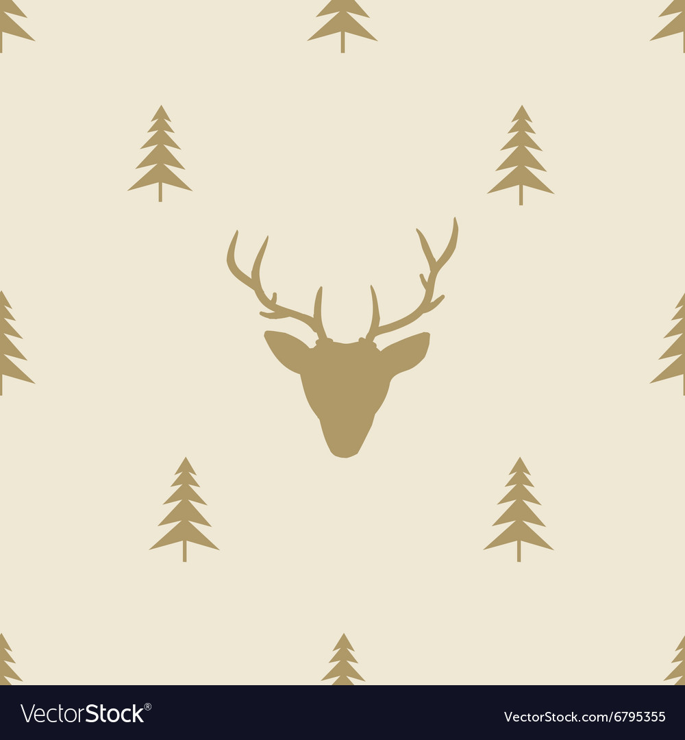 Christmas reindeer seamless line pattern tile vector