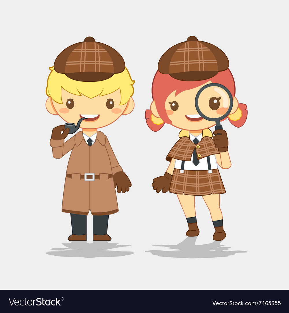 Detective man with pipe and woman with magnifier vector