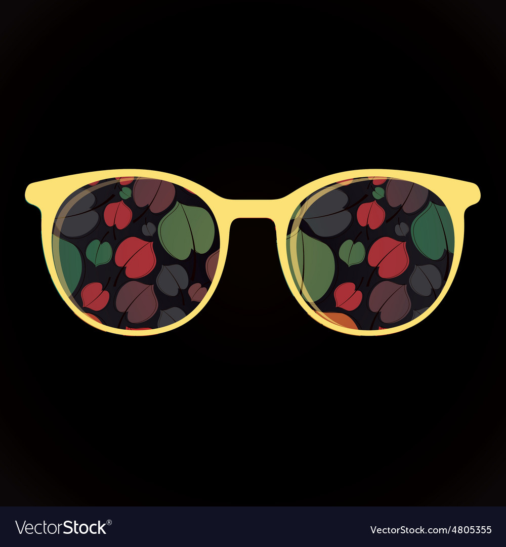 Glasses with colorful flowers on black background vector