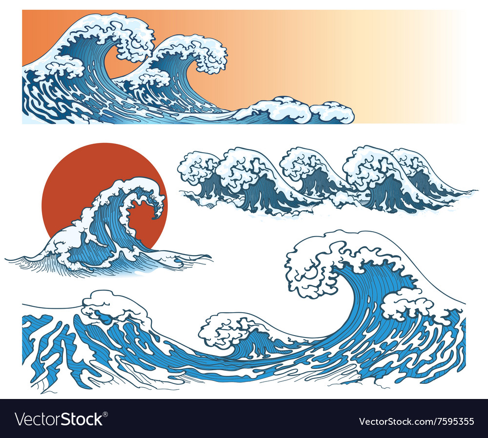 Waves in japanese style vector