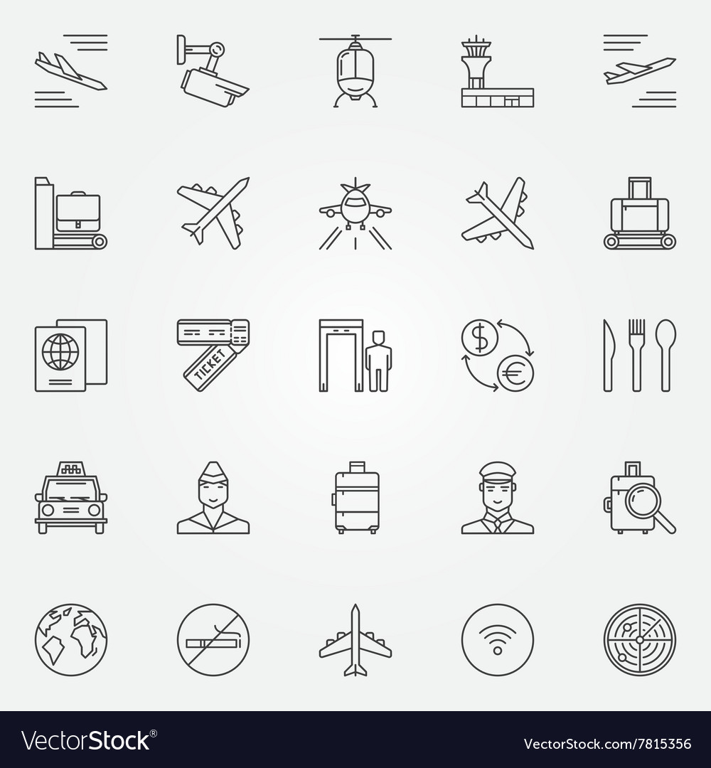 Airport icons set  thin line air travel vector