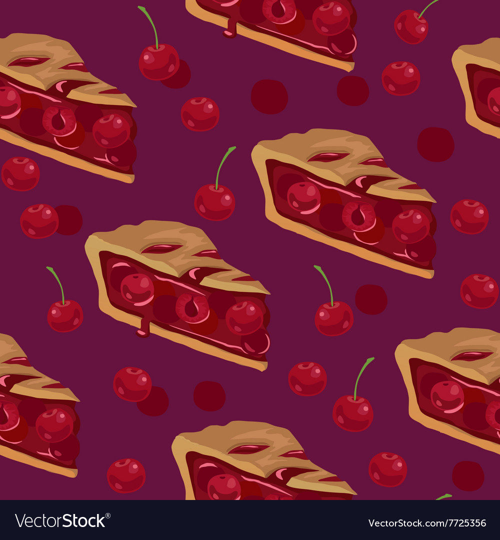 Cherry pie seamless pattern vector