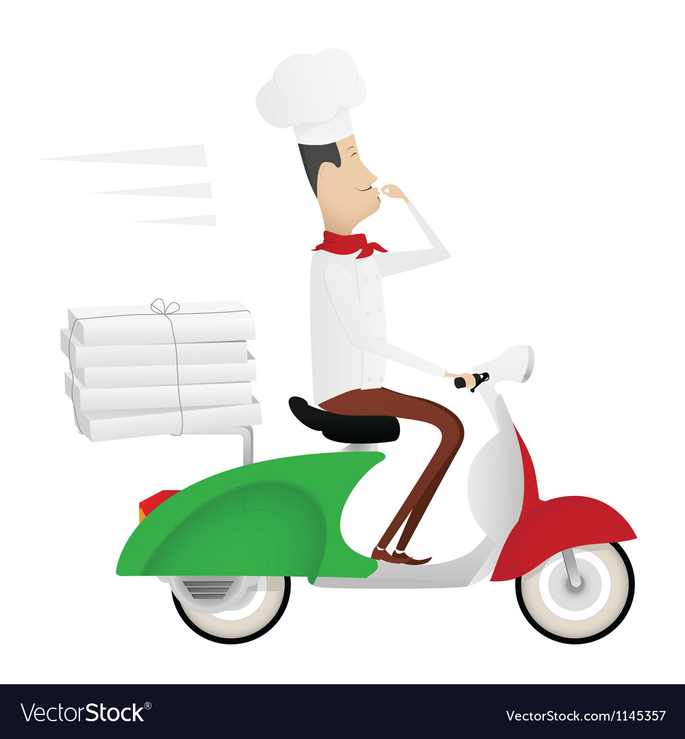 Funny chef delivering pizza on moped vector