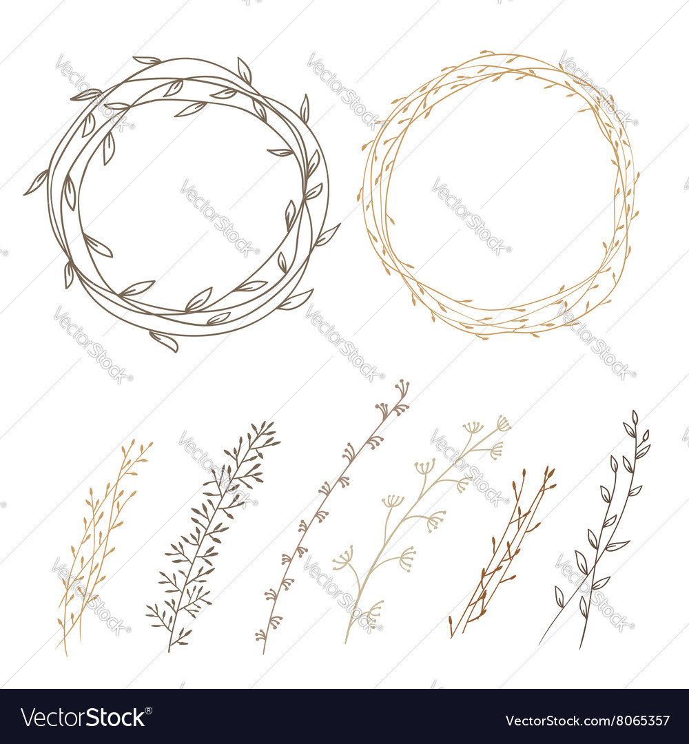 Set of decorative doodle wreaths vector