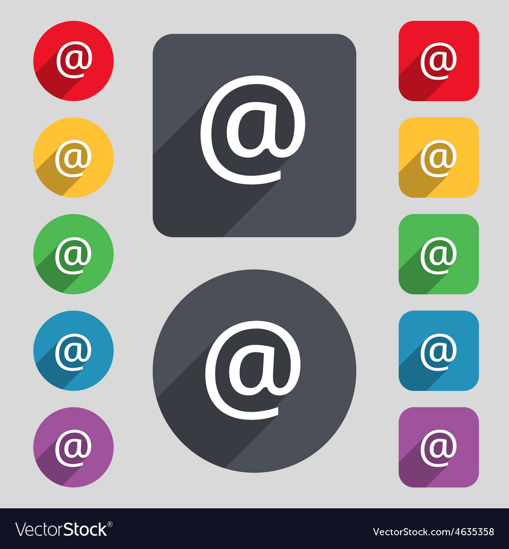 Email icon sign a set of 12 colored buttons and a vector