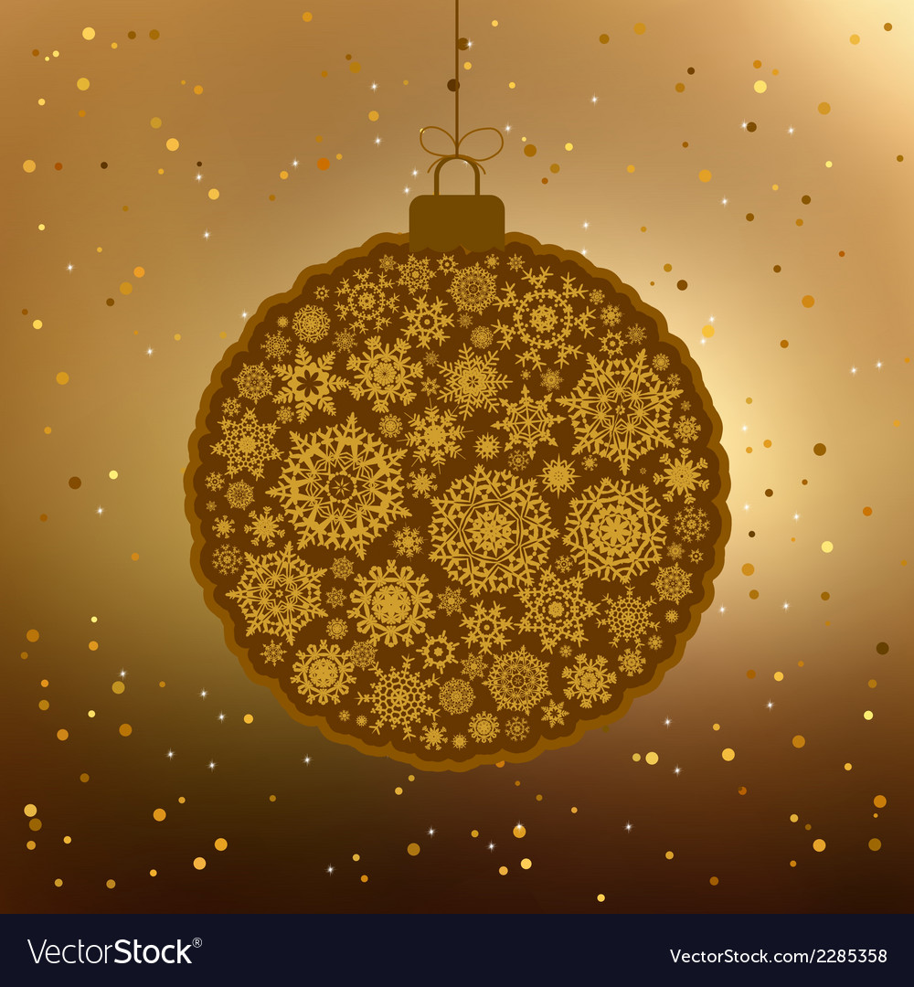 Vintage card with golden christmas ball eps 8 vector