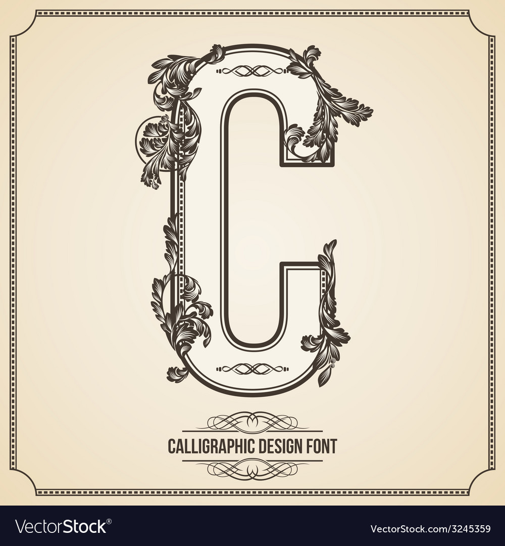 Calligraphic font letter c vector