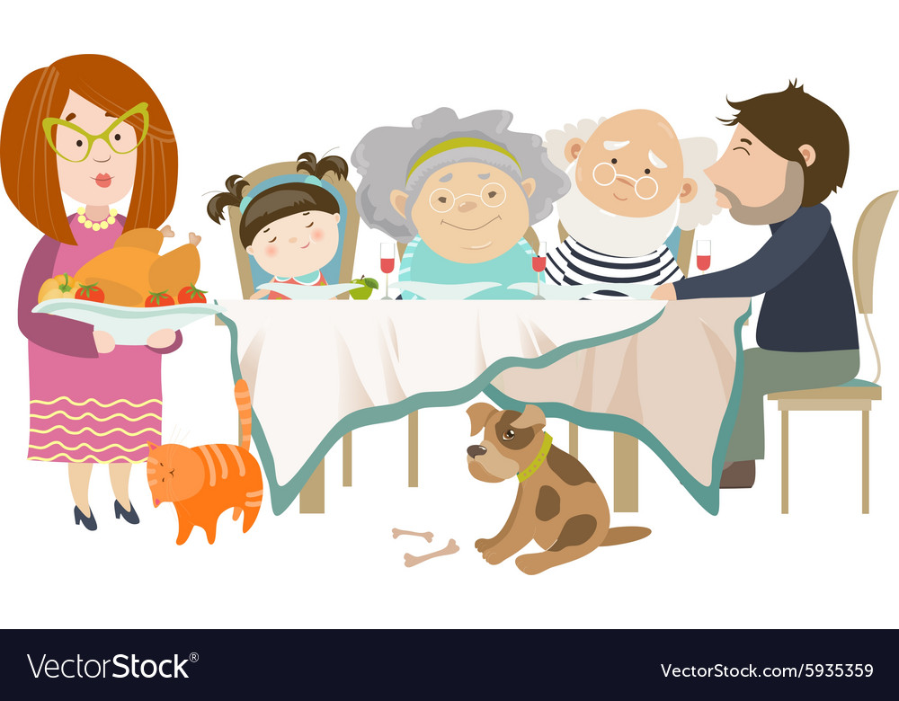 Portrait of big family sitting at the table vector