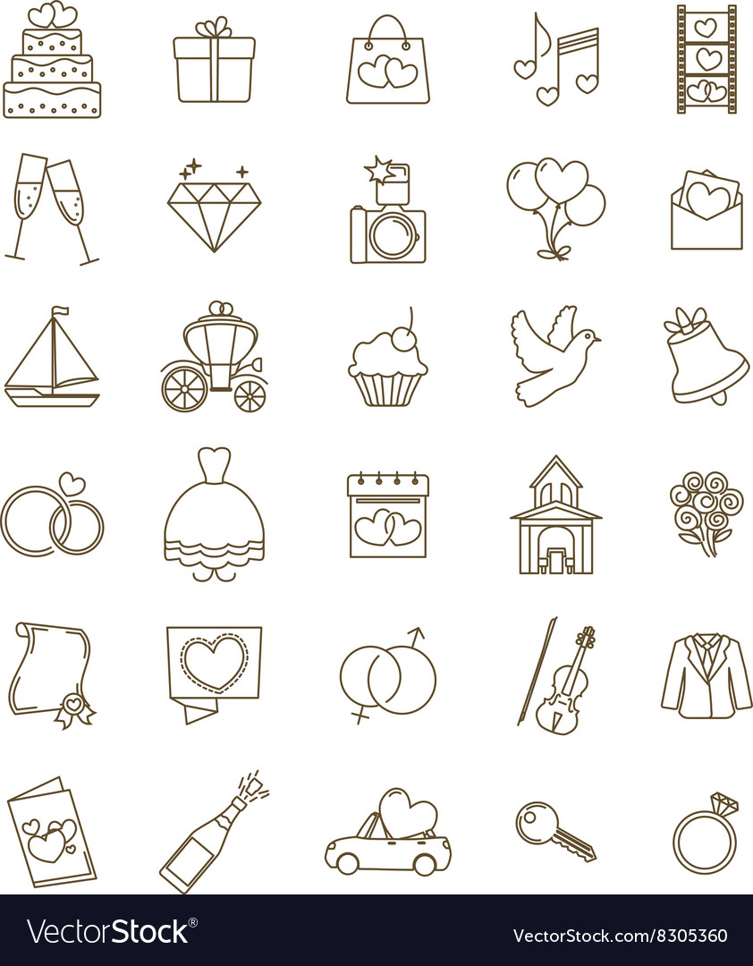 Icons wedding set vector