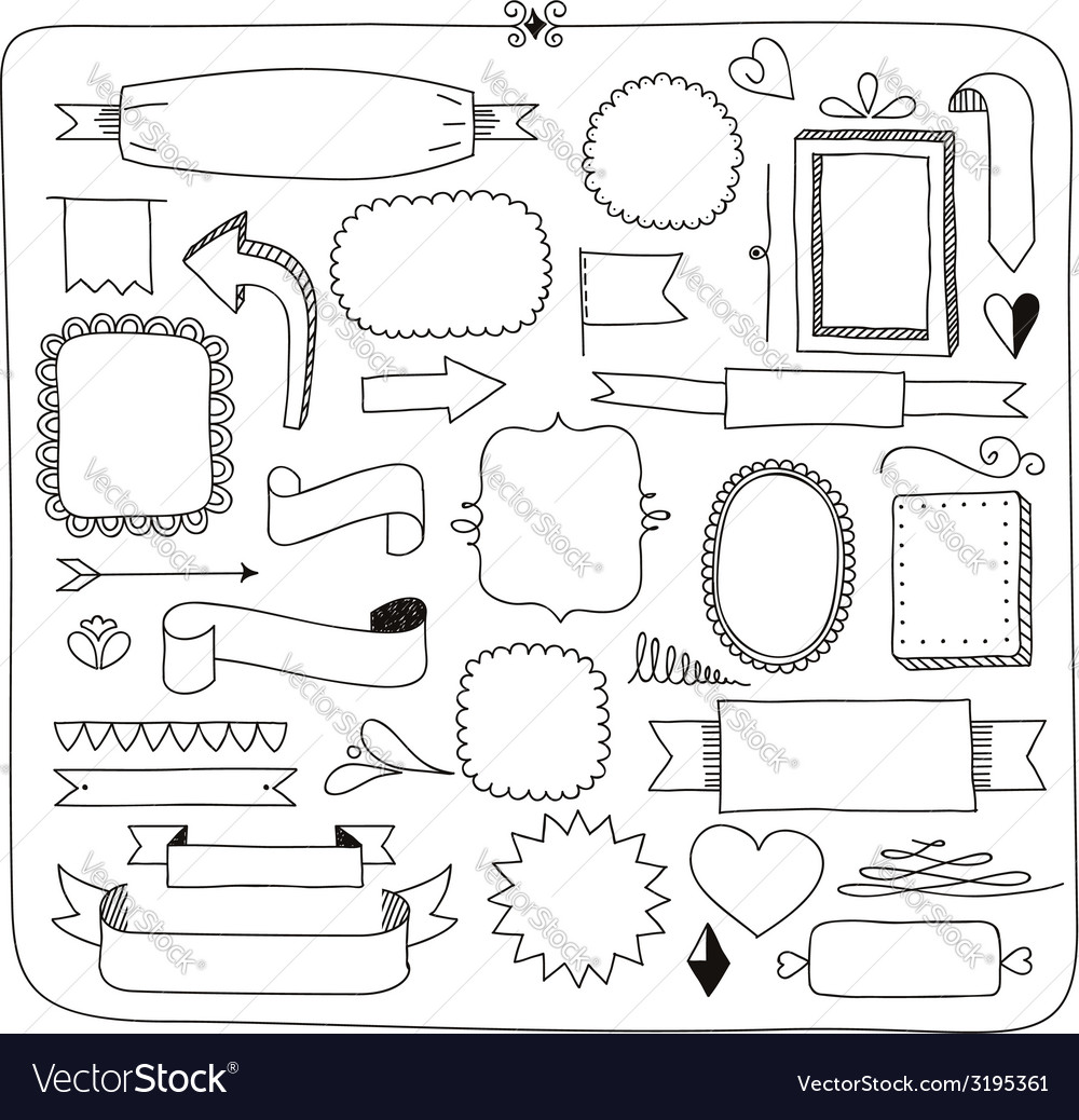 Doodle banners frames and design elements vector