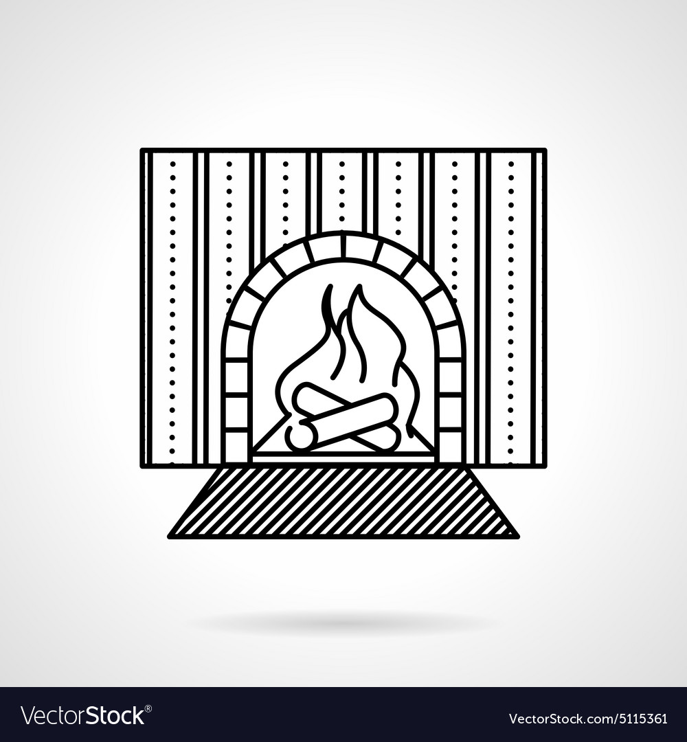 Fireplace black line icon vector