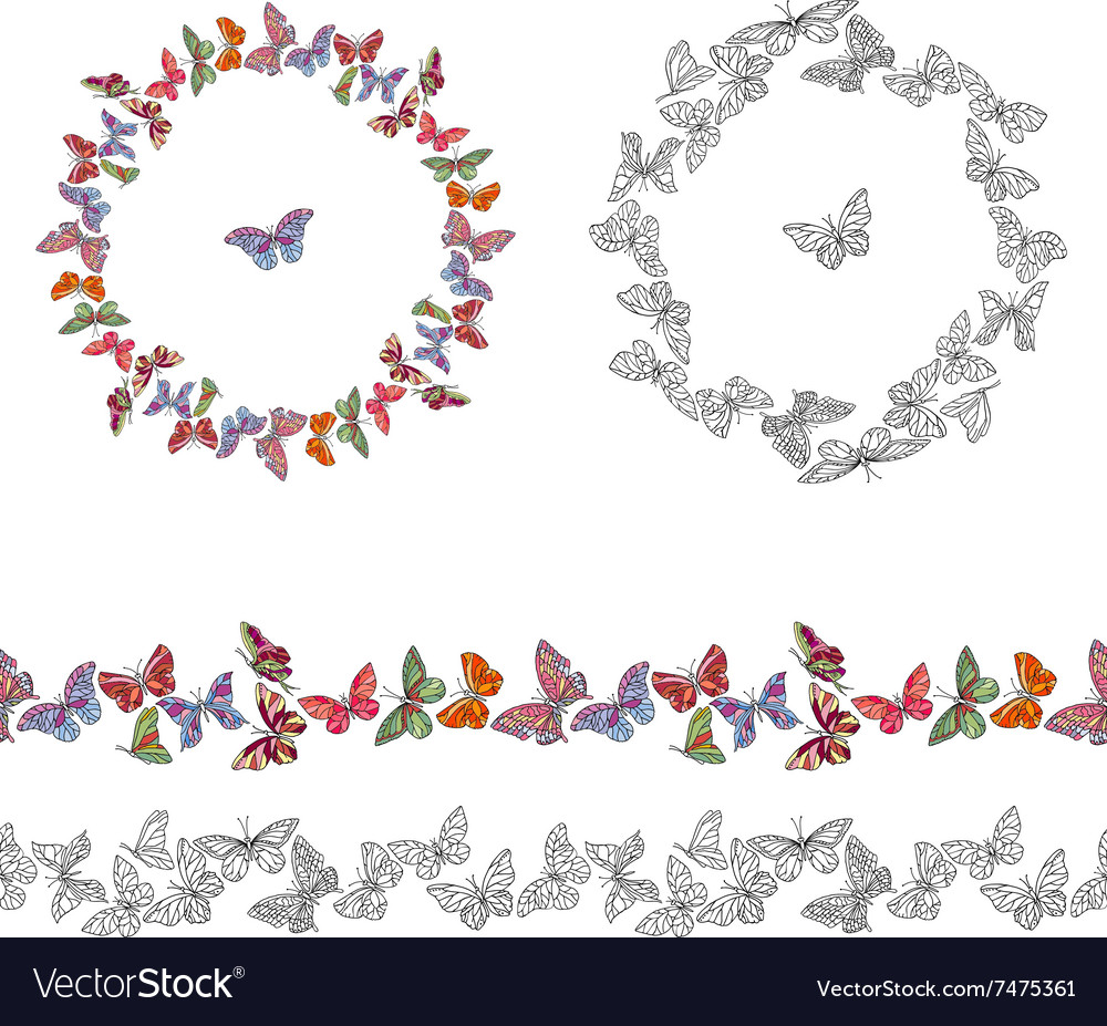 Frame made of different butterflies seamless vector