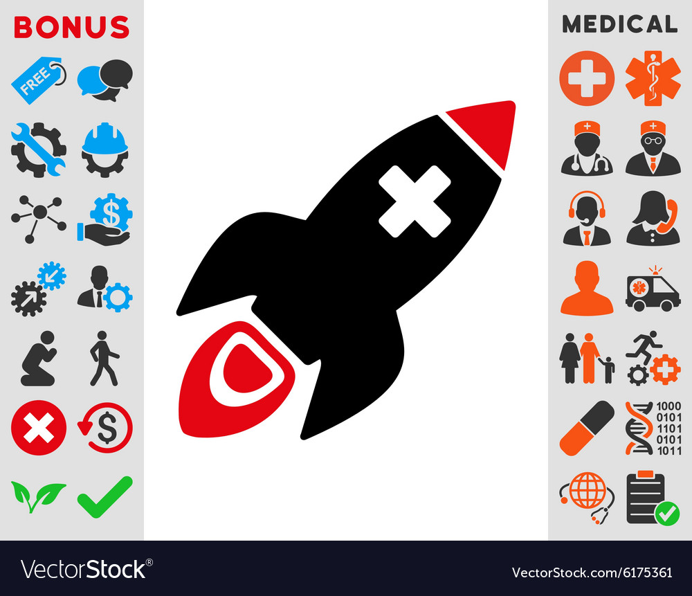 Medical rocket icon vector