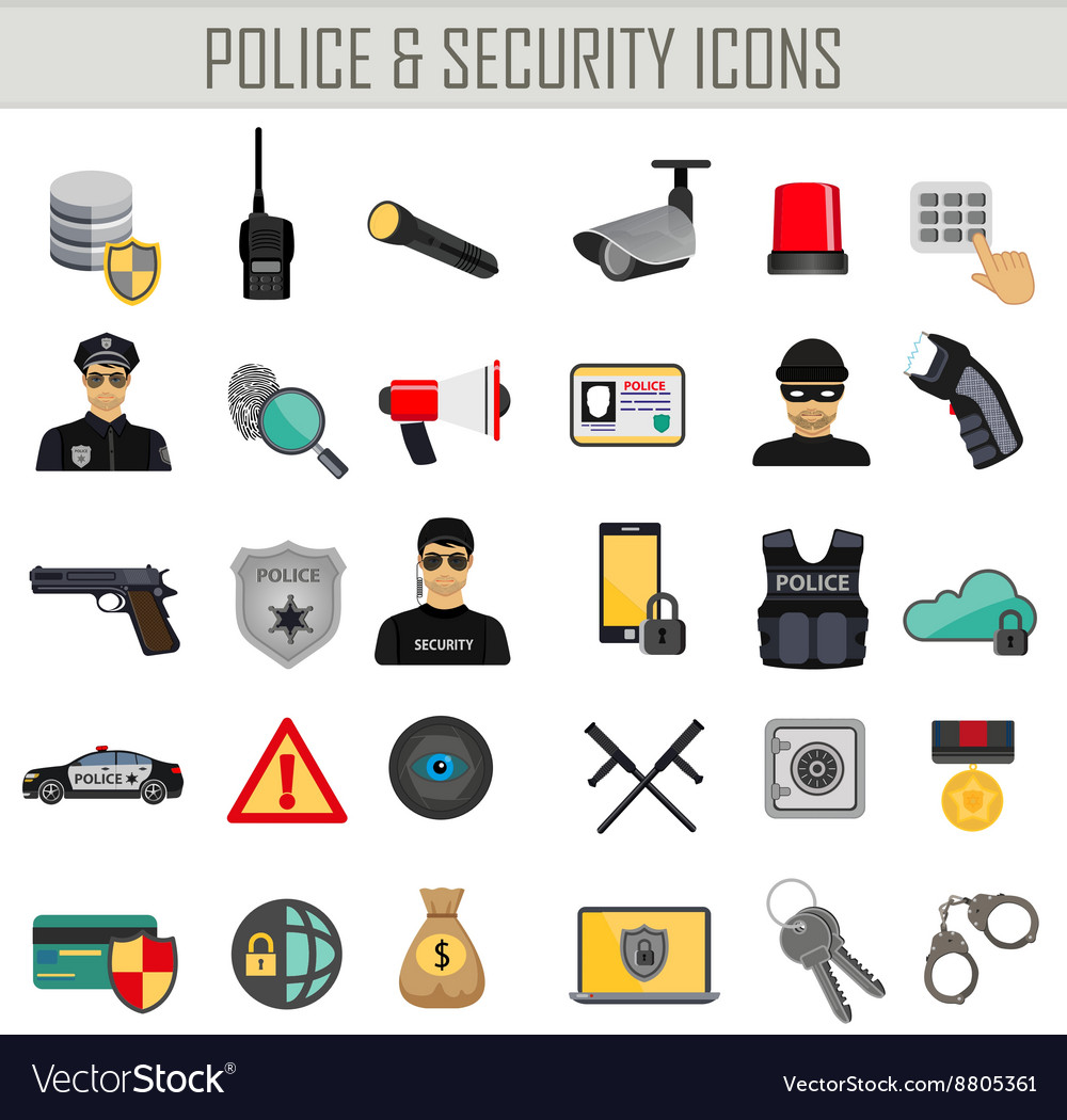 Police security and crime icons set vector