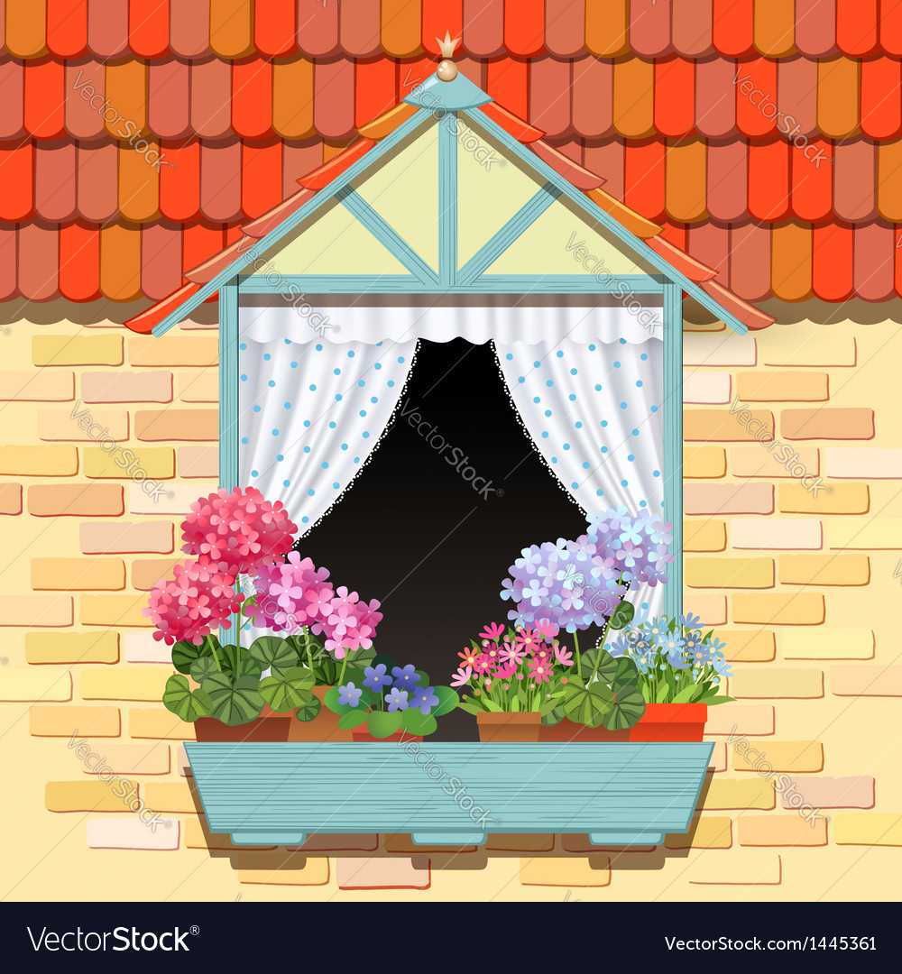 Window and flowers vector