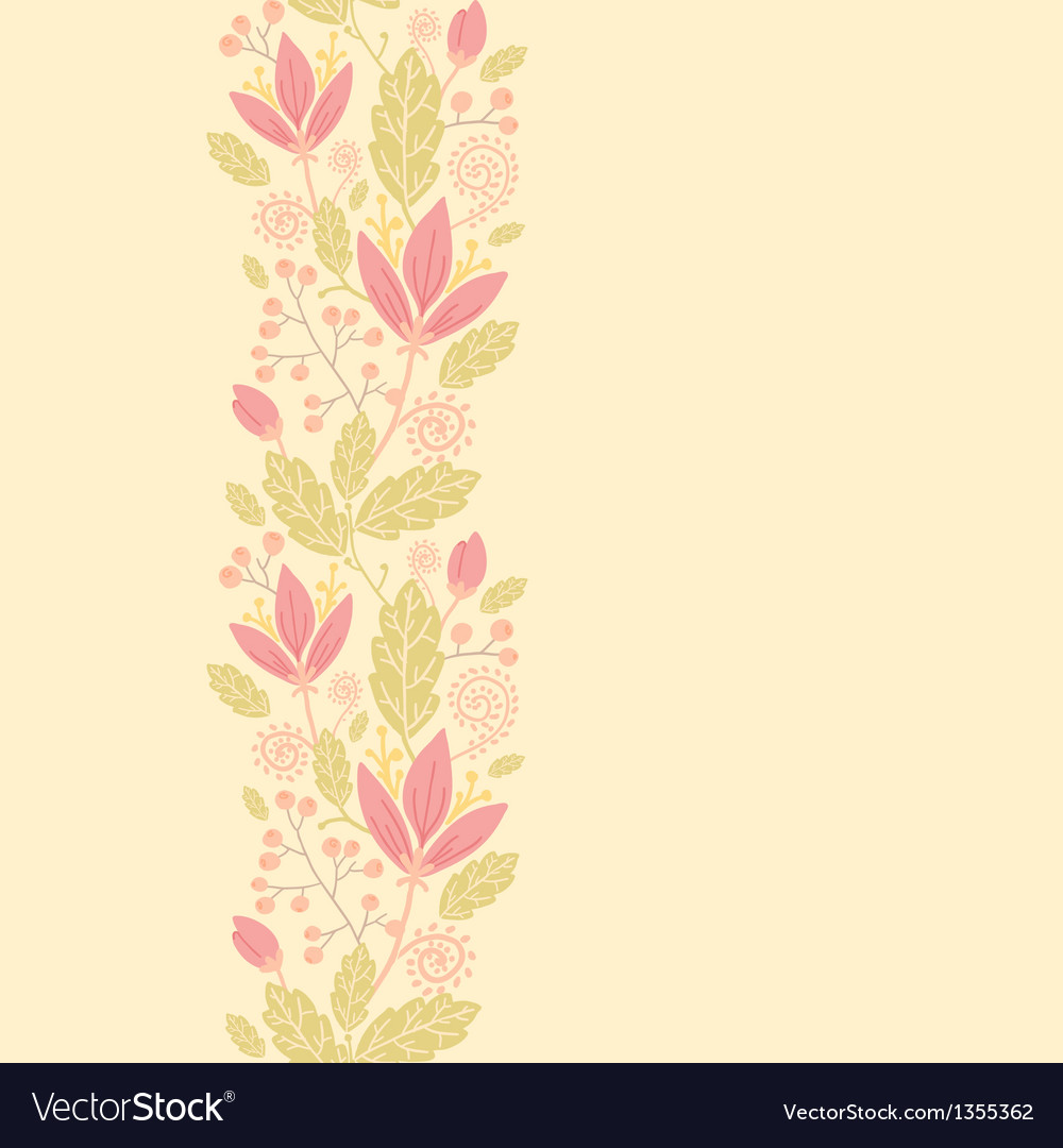 Flowers and berries vertical seamless pattern vector