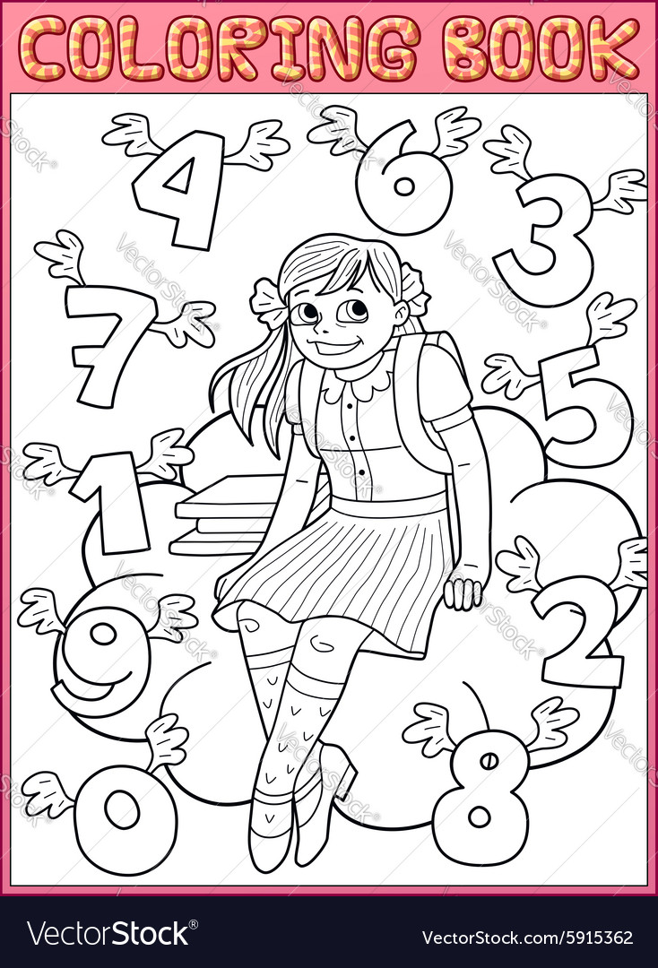 Schoolgirl and flying numbers vector