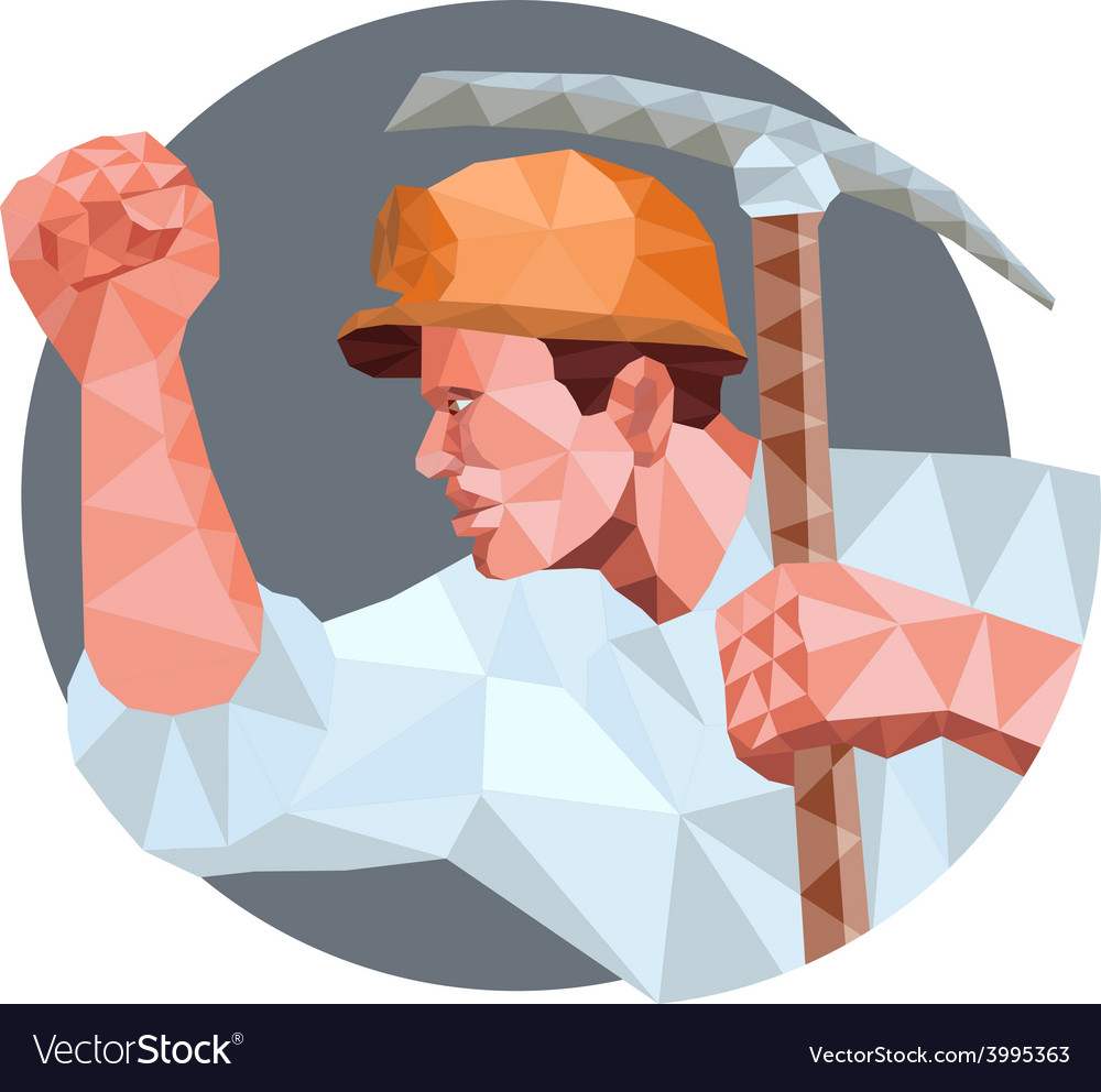 Coal miner pick axe pumping fist low polygon vector