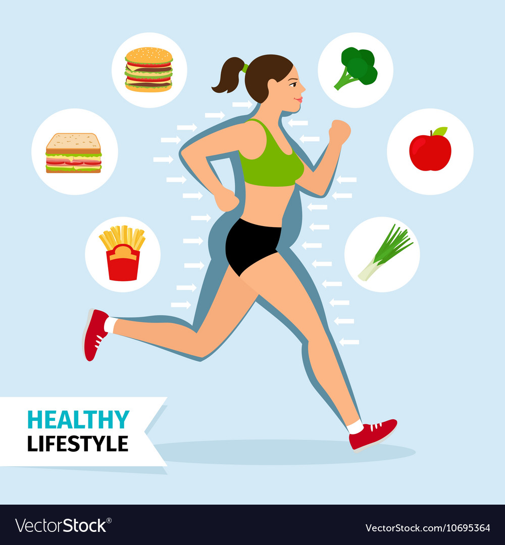 Healthy lifestyle running woman vector