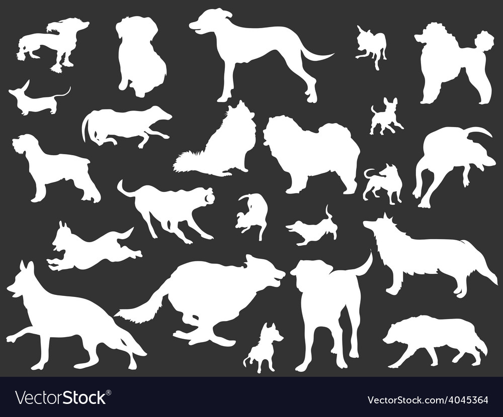 White dogs silhouettes set vector
