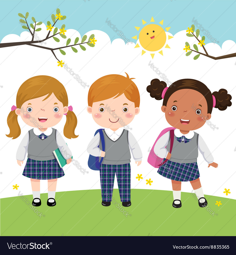 Three kids in school uniform going to school vector