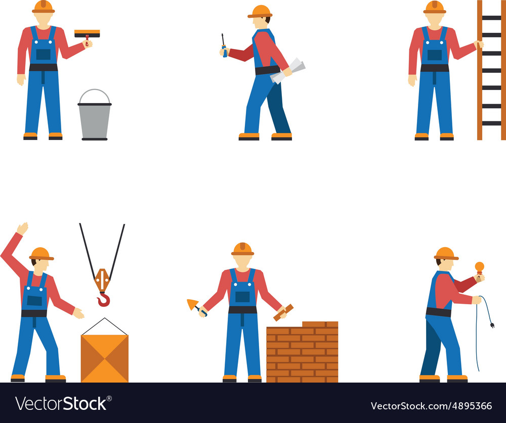 Construction worker people silhouettes icons flat vector