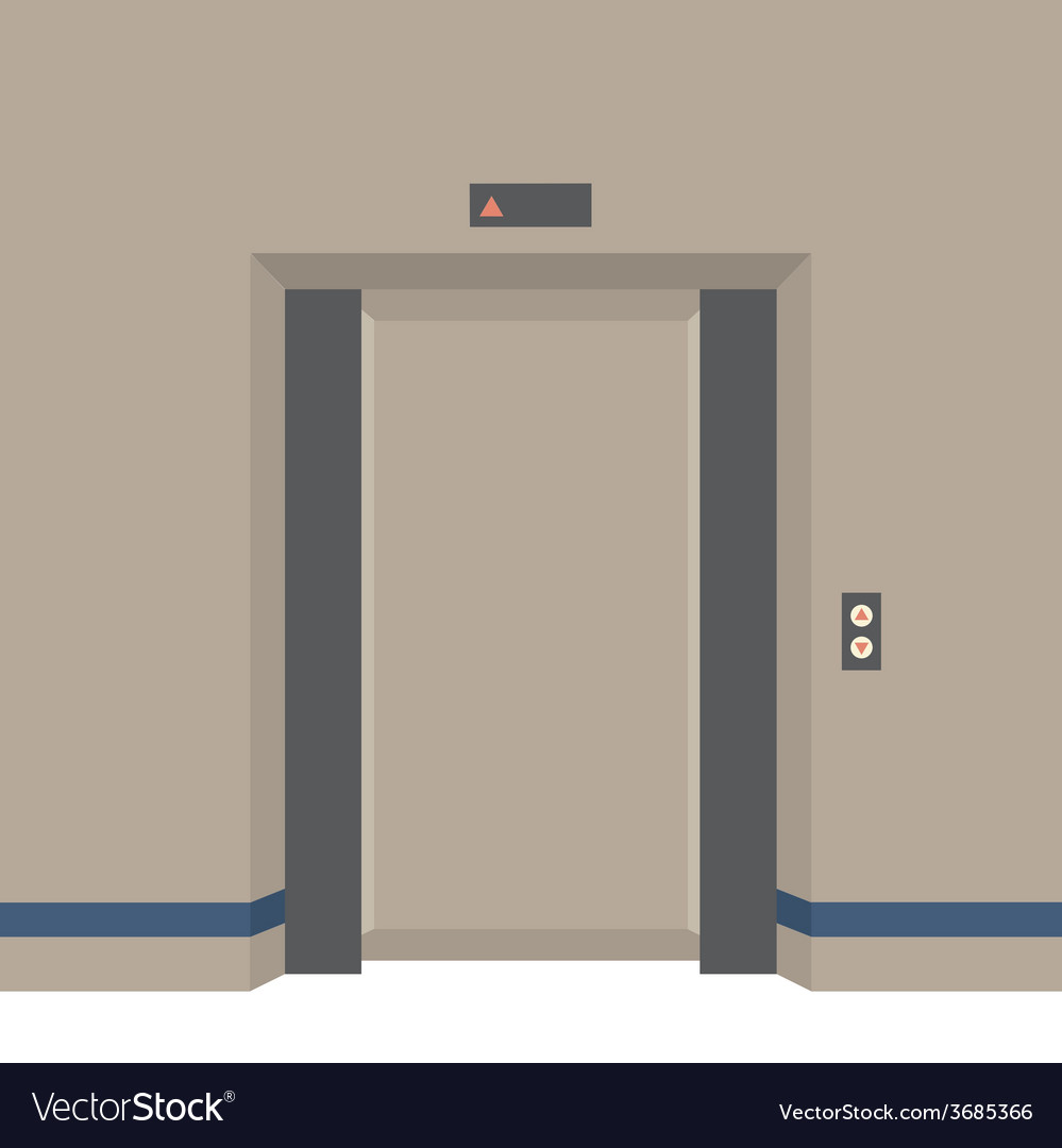 Open doors elevator vector