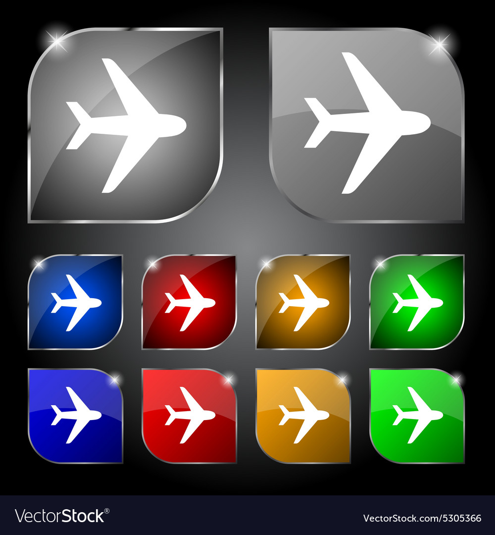 Plane icon sign set of ten colorful buttons with vector