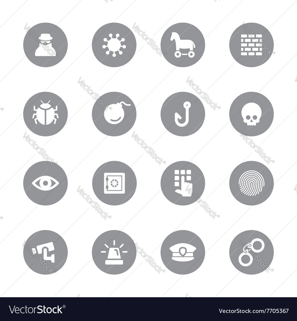 Gray flat icon set 7 on circle vector
