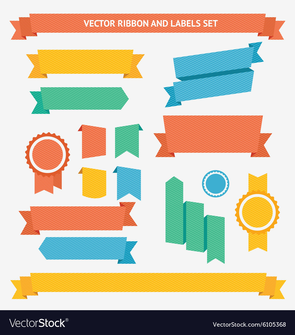Ribbon and labels set vector