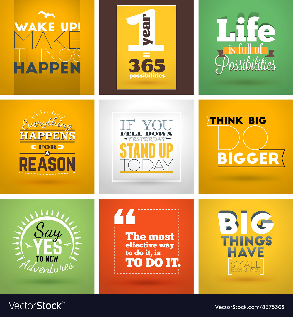 Set of inspirational and motivational typographic vector