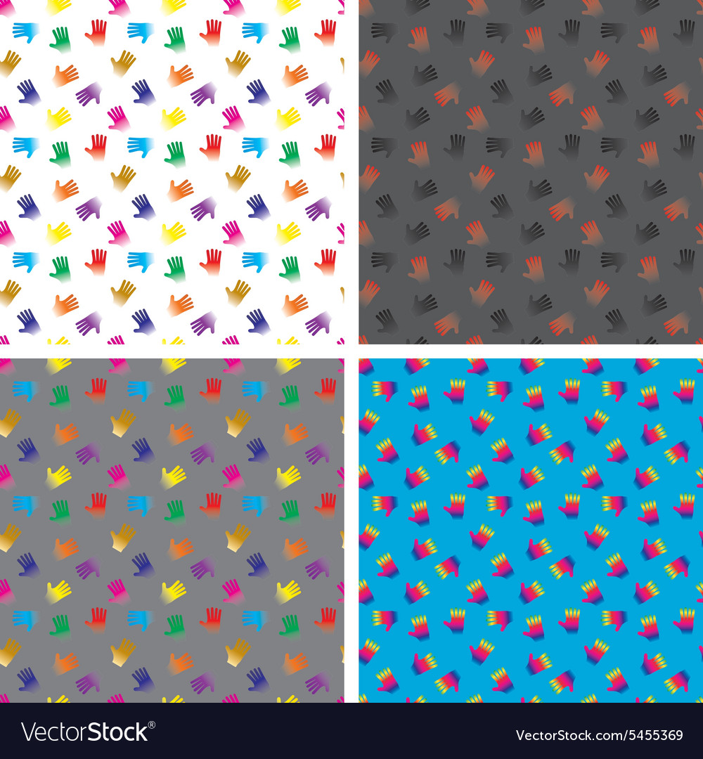 4 seamless patterns  hands eps 8 vector