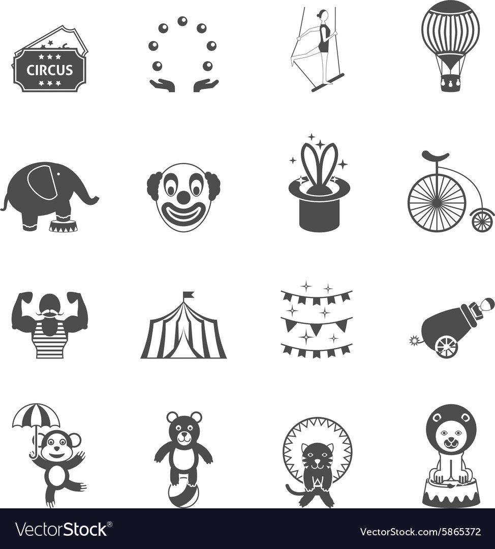 Chapito circus icons set black vector