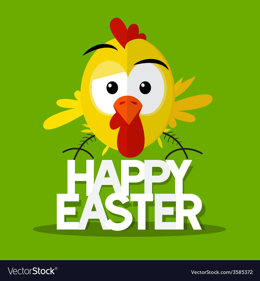 Happy easter title with chick on green background vector