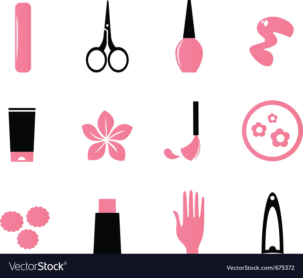 Manicure cosmetics and beauty icons  pink vector