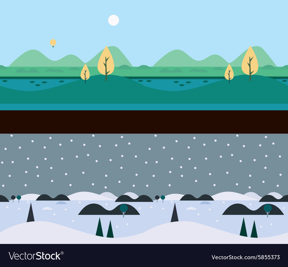 Background seamless scenery seasons and landscapes vector