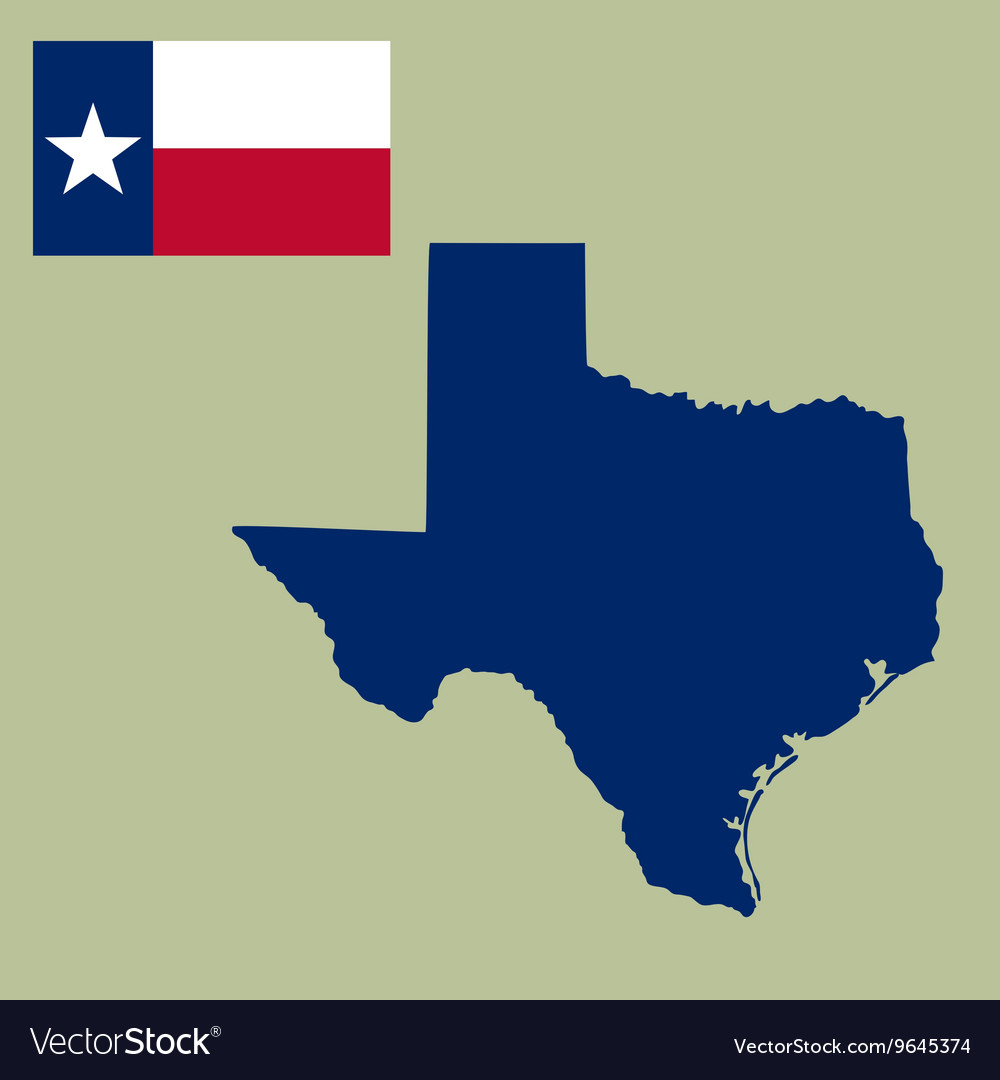 Map of the us state of texas with flag vector