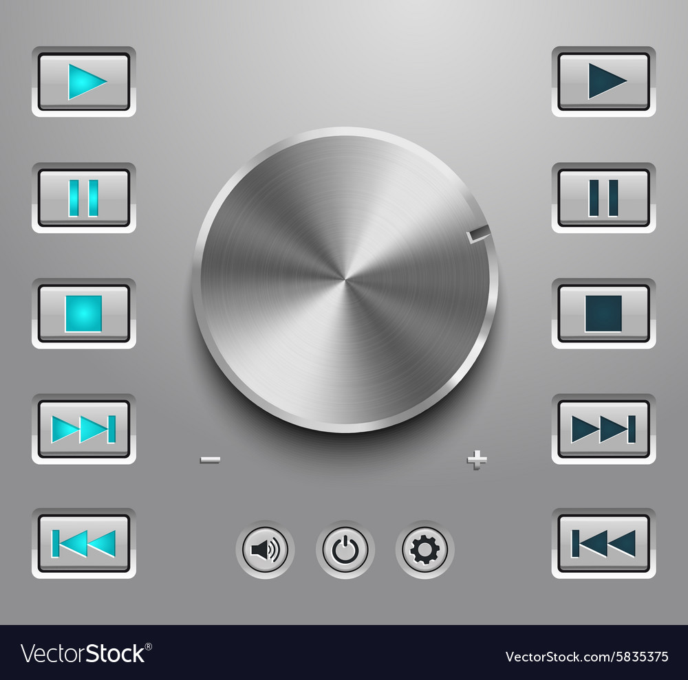 Metal volume button and setting volume buttons vector