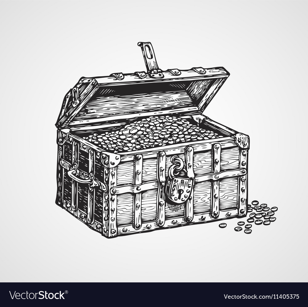 Opened wooden chest with treasures vintage sketch vector