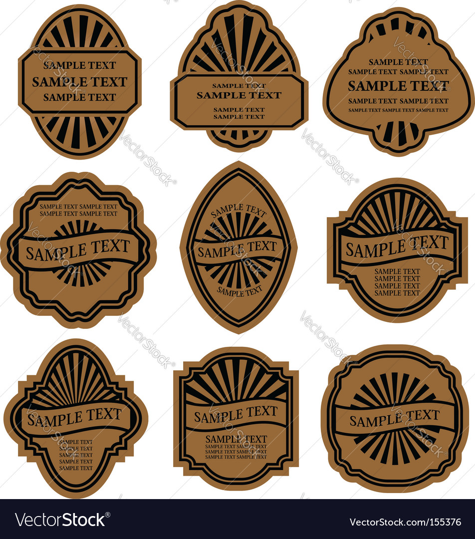 Set of vintage brown labels vector