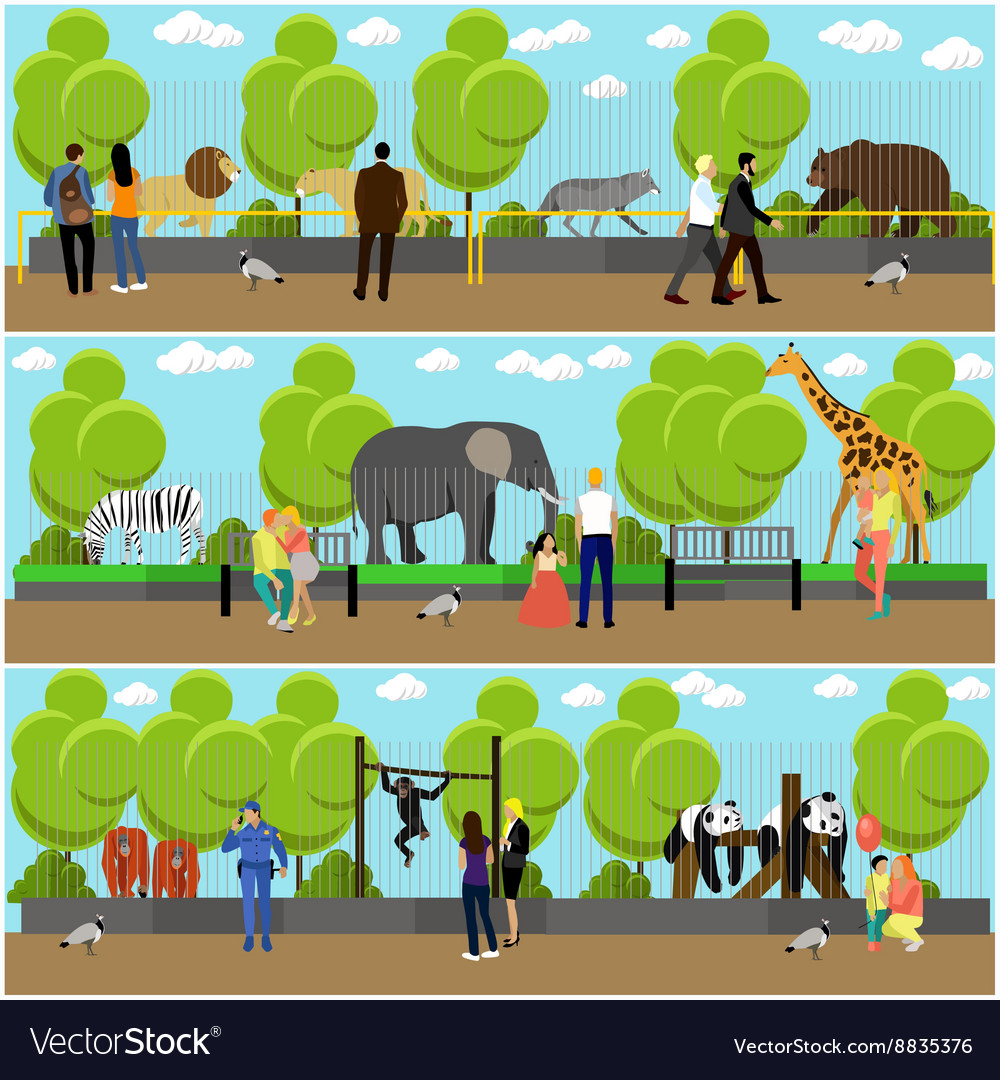 Zoo concept banners people visiting zoopark with vector