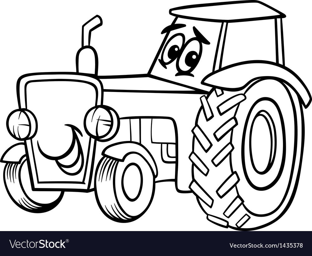Tractor cartoon for coloring book vector