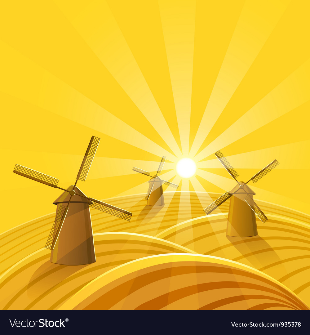 Windmills at sunset background vector